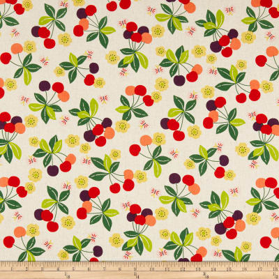 Kokka Fruits Cherry Canvas Natural