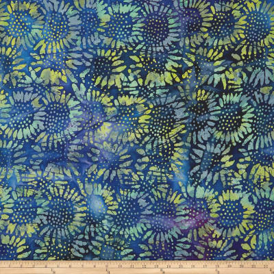 Tuscan Garden Sunflower Batik Blue/Purple/Yellow