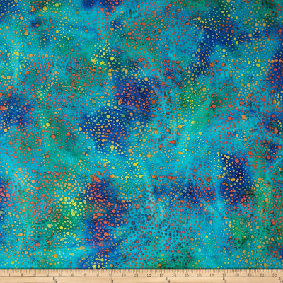Color Crystals Dots Batik Teal/Orange/Purple