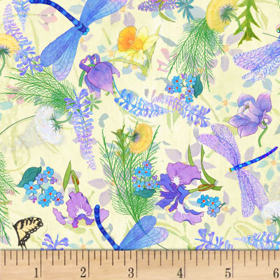 P&B Textiles Nature's Floral & Dragonfly Multi