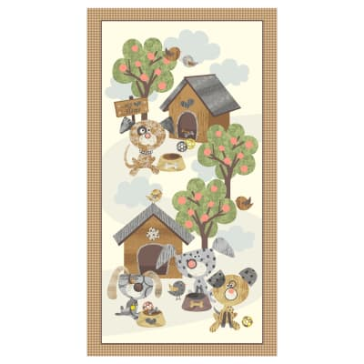 "Good Doggie Dog Panel 24"" Panel Ivory"