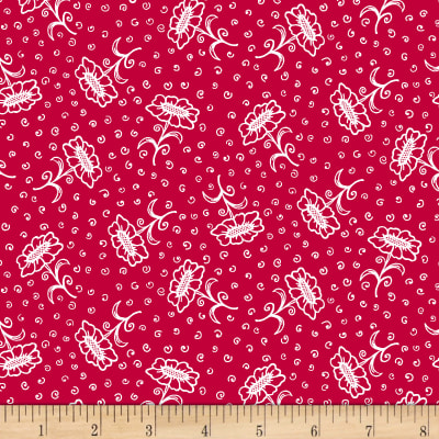 Scarlet Romance, Flower With Stem, White On Red