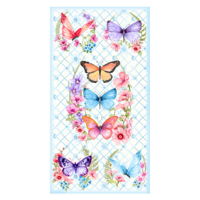 """Papillion Parade 24"""" Butterfly Panel White"""