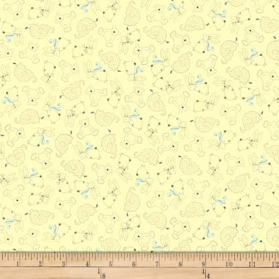QT Fabrics Lil' Sweeties Animal Linework Pale Yellow