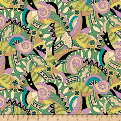 QT Fabrics  Echo Packed Geometric Green