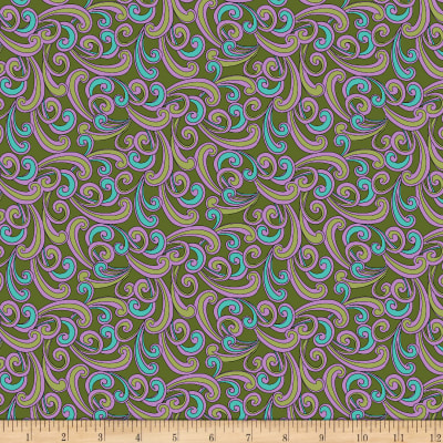 QT Fabrics  Echo Scroll Green