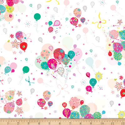 QT Fabrics Let's Celebrate Bunch Of Balloons White
