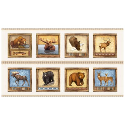 """QT Fabrics Timberland Trail Animal Square Picture Patches 24"""" Panel Cream"""