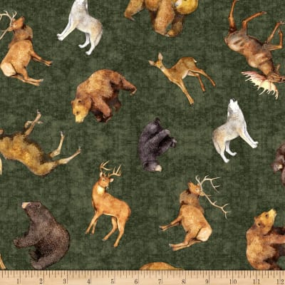 QT Fabrics Timberland Trail Tossed Animals Forest
