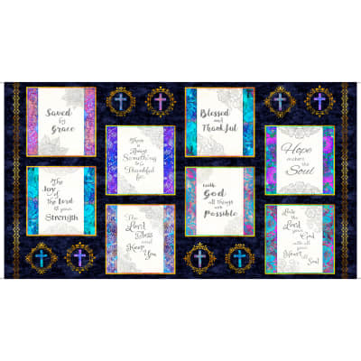 "QT Fabrics Faith Religious Picture Patches Square 24"" Panel Navy"