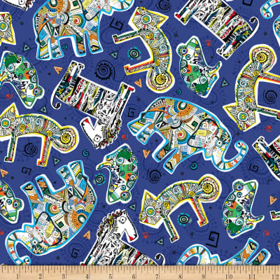 QT Fabrics Wild Side Tossed Geo Animals Navy