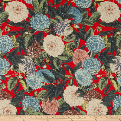 Cotton Linen Tropical Floral Turquoise/Red