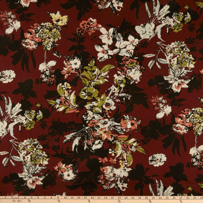 Cotton Linen Abstract Floral Wine/Olive