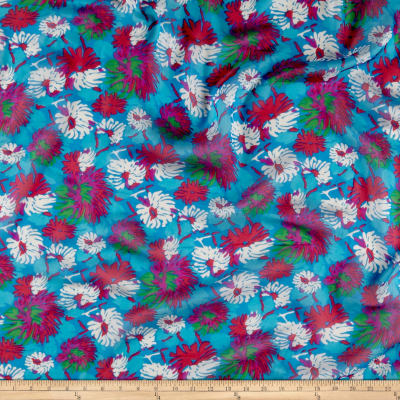 Silk Chiffon Tropical Floral Pink/Turquoise