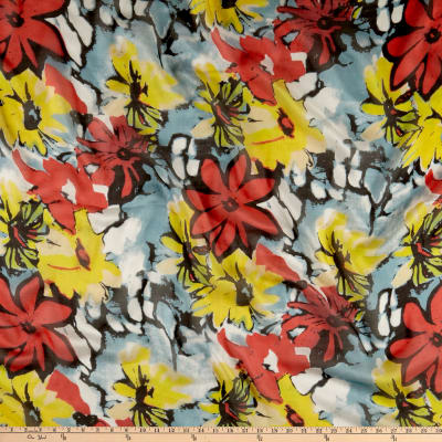 Silk Chiffon Multi Floral Red/Yellow
