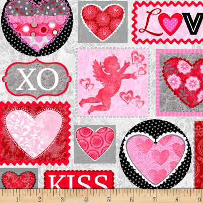 Hearts of Love Valentine Patch Pink/ Red