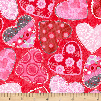 Hearts of Love Tossed Hearts with Patterns Red
