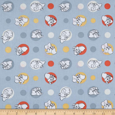 Springs Creative Disney Classics Dumbo Polka Dots Grey