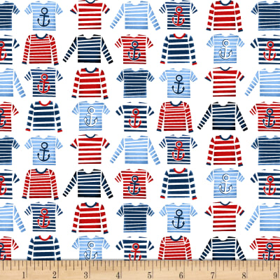 A Whale Of A Time Striped T-Shirts White