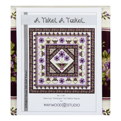 "Maywood Studio Kit Aubergine A Tisket A Tasket 96"" Quilt Kit Multi"