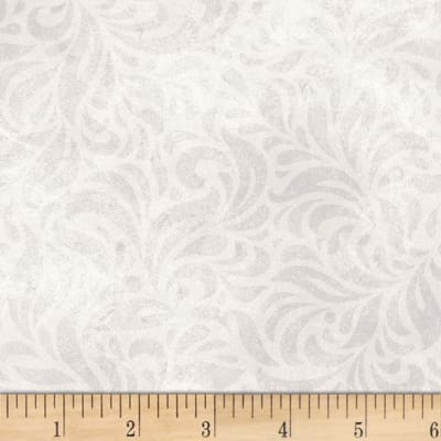 P&B Textiles Bella Suede Wide Floral Swirl Light Grey