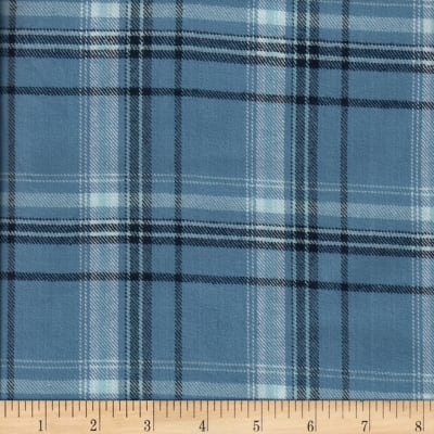 Windstar Twill Flannel Plaid Light Blue/Navy
