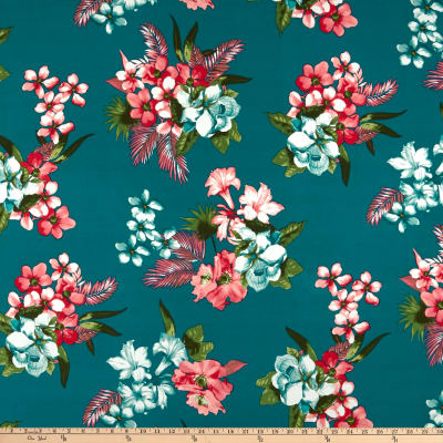 Double Brushed Poly Jersey Knit Tropical Floral Teal/Pink