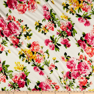Double Brushed Poly Jersey Knit Floral Ivory/Pink