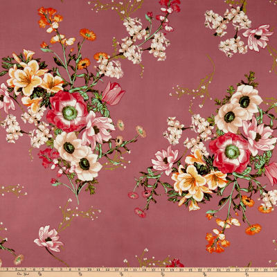 Double Brushed Poly Jersey Knit Floral Bouquet Mauve/Coral