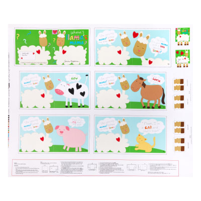 "Huggable And Lovable 6 36"" Llama Book Panel Multi"