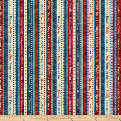 Northcott Stars and Stripes Patriotic Phrases Red