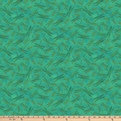 Northcott  Koi Pond  Metallic DragonflyTeal