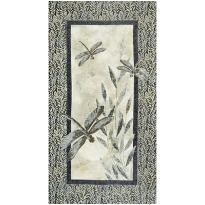 """Northcott  Dragonfly Moon Neutrals Panel 24"""" Black/Taupe"""