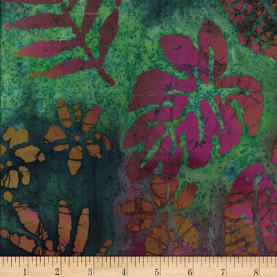 Leaf and Vine Batik Tropical Leaf Plum/Teal