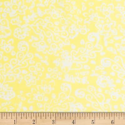Banyan Batiks Feathers Floral Scroll White/Yellow