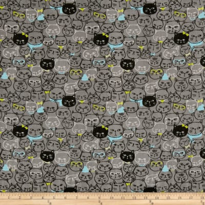 Cosmo Cool Cat Cat Faces Double Gauze Charcoal