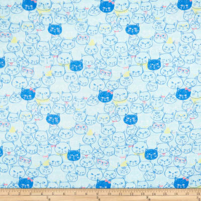 Cosmo Cool Cat Cat Faces Double Gauze Blue