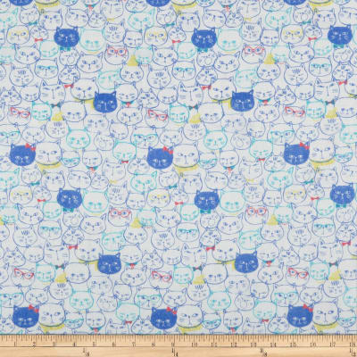 Cosmo Cool Cat Cat Faces Double Gauze White