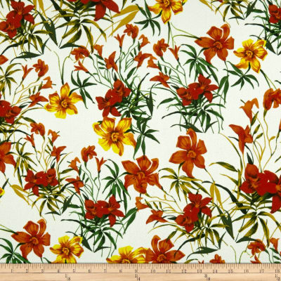 Liverpool Double Knit Tropical Floral Orange/Coral