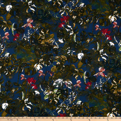 Liverpool Double Knit Tropical Floral Navy/Olive