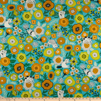 Cosmo Gardener's Path Oxford Floral And Cats Toss Aqua