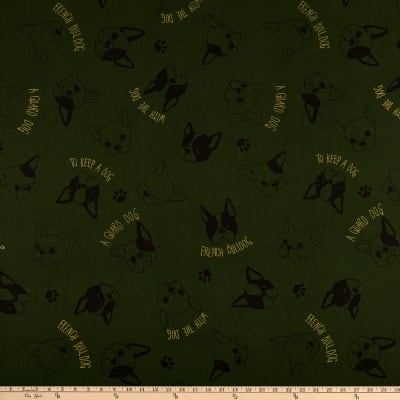 Cosmo Frenchie Cotton/Linen Canvas Metallic Tossed Bulldog Heads Olive