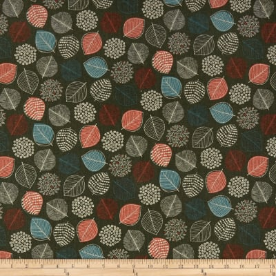 Cosmo Reversible Woodland Cotton/Linen Canvas Scattered Leaves And Triangles Grey