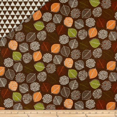Cosmo Reversible Woodland Cotton/Linen Canvas Scattered Leaves And Triangles Brown