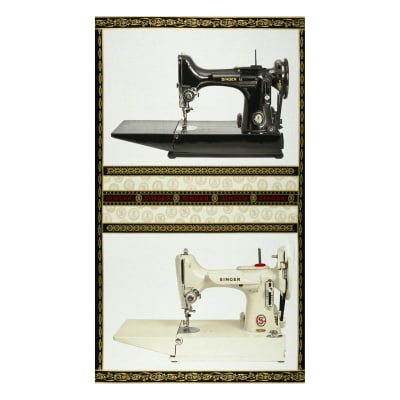 """Kaufman Sewing With Singer 36"""" Panel Sewing Machine Antique"""