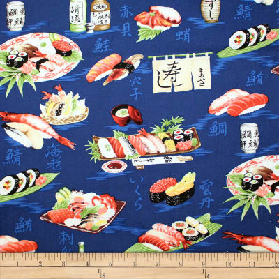 Trans-Pacific Textiles Oriental Sushi Navy