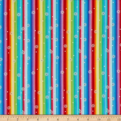 QT Fabrics Party Like A Unicorn Sparkle Stripe Multi