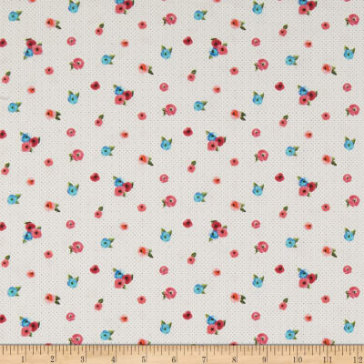 QT Fabrics  Sweet Caroline Small Floral With Dots White