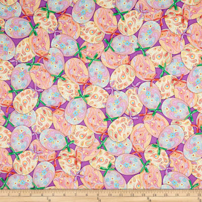 QT Fabrics Happy Easter Packed Easter Eggs & Bows Purple
