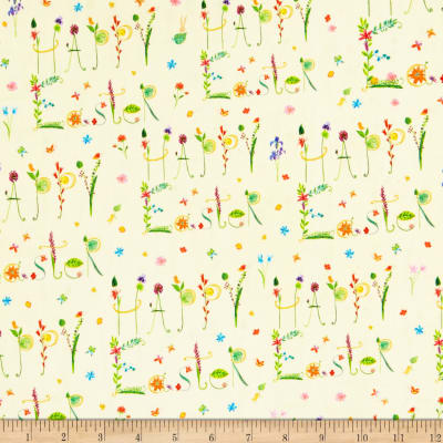 QT Fabrics Happy Easter Happy Easter Words Pale Yellow
